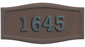 Address Plaque with Bronze Background and Frame with Verde Brass Numbers
