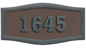 Address Plaque with Bronze Background with Verde Brass Frame and Numbers