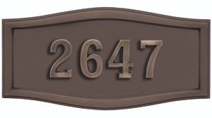 Address Plaque with Bronze Backround and Frame with Antique Bronze Numbes