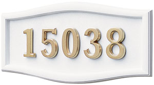 Address Plaque with White Background and Frame and Polished Brass Numbers