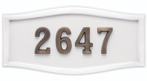 Address Plaque with White Background and Frame with Antique Bronze Numbers
