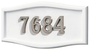 Address Plaque with White Background and Frame with Satin Nichel Numbers