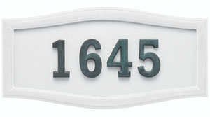 Address Plaque with White Background and Frame with Verde Brass Numbers