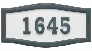 Address Plaque with White Background with Verde Brass Frame and Numbers