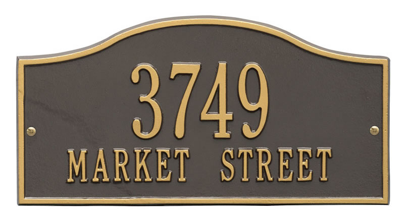 Rolling Hills Plaques – Standard Wall – Two Line Bronzes with Gold Trim & Numbers