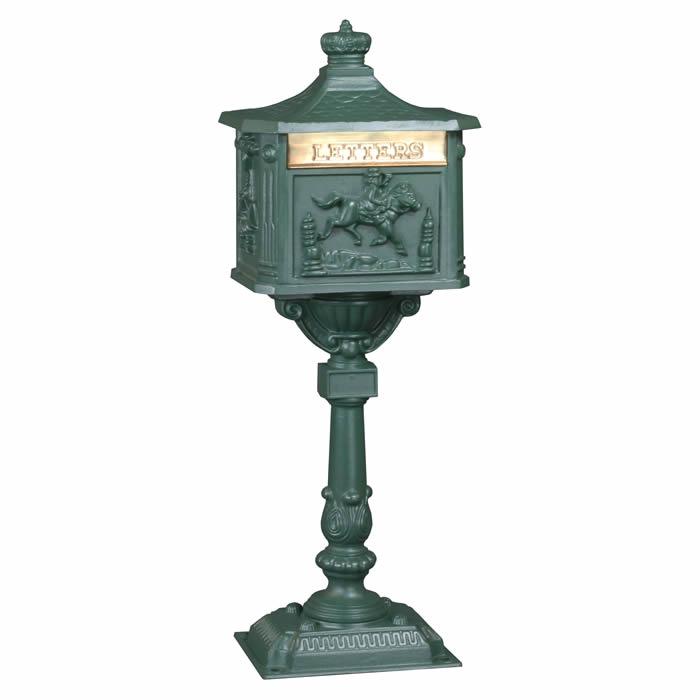 Victorian Pedestal Mailbox Green
