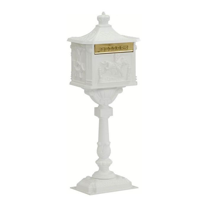 Victorian Pedestal Mailbox White