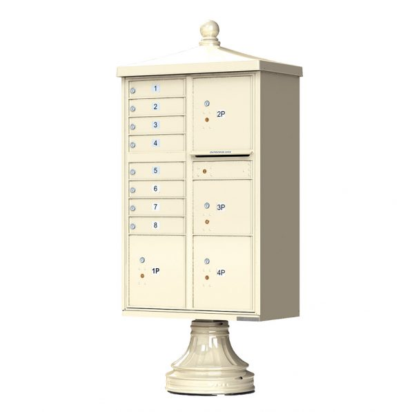 8 Door with 4 Parcel Lockers Florence Vital™ 1570-8T6V2 Series Traditional USPS Approved (CBU) Cluster Mailboxes with Pedestal