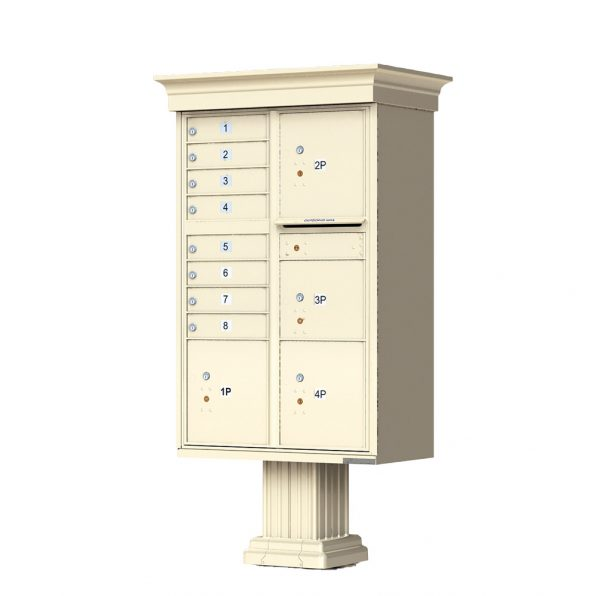 8 Door with 4 Parcel Lockers Florence Vital™ 1570-8T6V Series Classic USPS Approved (CBU) Cluster Mailboxes with Pedestal