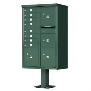 8 Door with 4 Parcel Lockers Florence Vital 1570-8T6 Series USPS Approved (CBU) Cluster Mailboxes with Pedestal Green