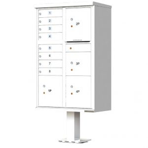 8 Door with 4 Parcel Lockers Florence Vital 1570-8T6 Series USPS Approved (CBU) Cluster Mailboxes with Pedestal White