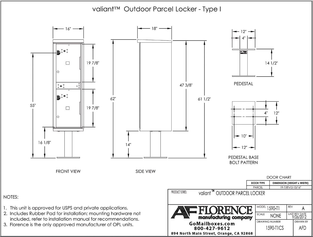 1590 T1-2 Door Outdoor Parcel Locker Diagram