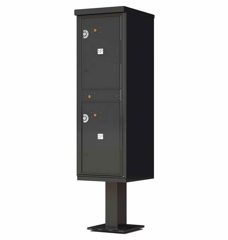 Outdoor Parcel Locker with Pedestal Stand - 2 Parcel Lockers Black