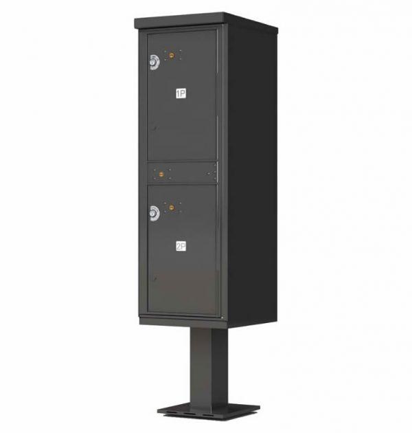 Outdoor Parcel Locker with Pedestal Stand - 2 Parcel Lockers Bronze
