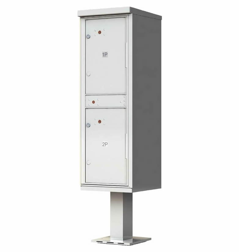 Outdoor Parcel Locker with Pedestal Stand - 2 Parcel Lockers Gray