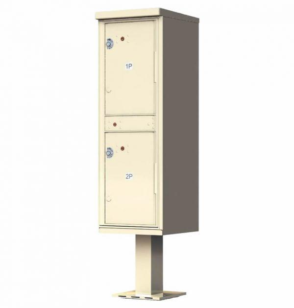 Outdoor Parcel Locker with Pedestal Stand - 2 Parcel Lockers Sand