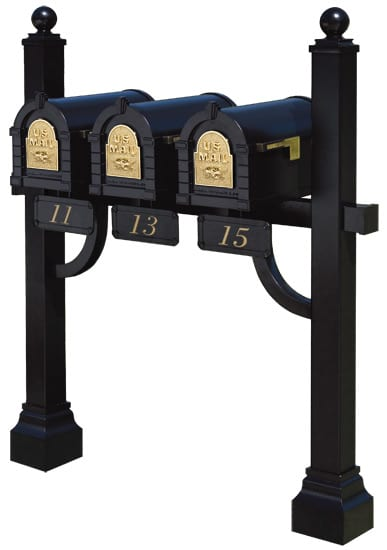3 Keystone Mailboxes with Post