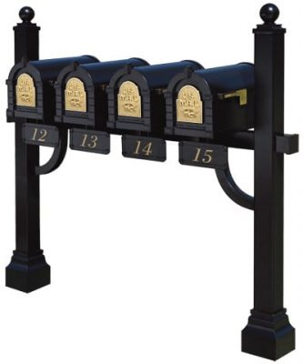 4 Keystone Mailboxes with Post