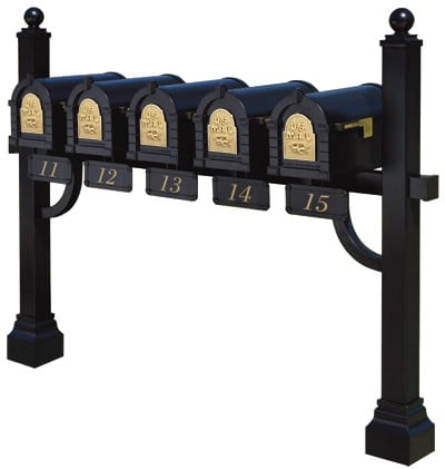 5 Keystone Mailboxes with Post