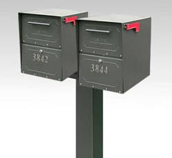Oasis Junior Double Post Mount Locking Mailbox
