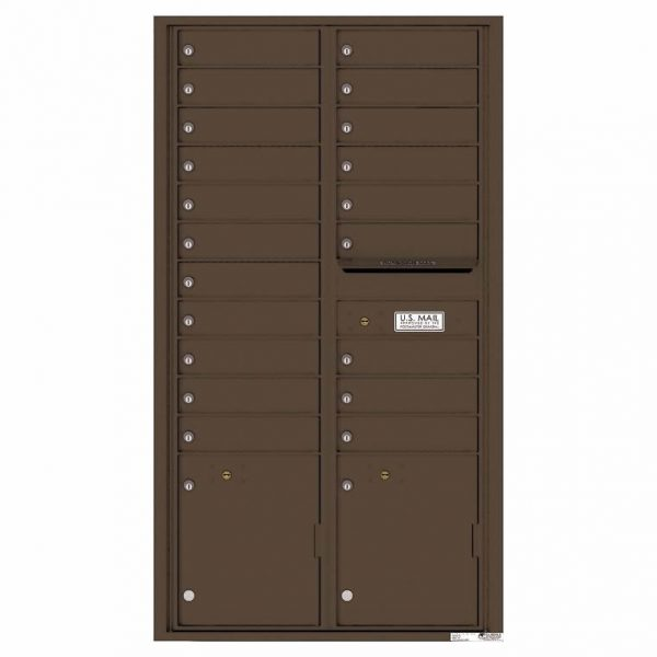 Florence Versatile Front Loading 4C Commercial Mailbox with 20 Tenant Compartments and 2 Parcel Lockers 4C16D-20 Antque Bronze