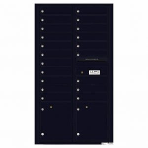 Florence Versatile Front Loading 4C Commercial Mailbox with 20 Tenant Compartments and 2 Parcel Lockers 4C16D-20 Black