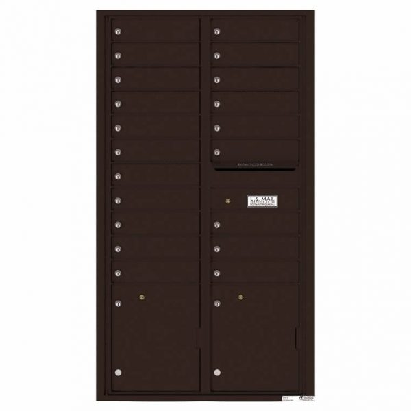 Florence Versatile Front Loading 4C Commercial Mailbox with 20 Tenant Compartments and 2 Parcel Lockers 4C16D-20 Dark Bronze