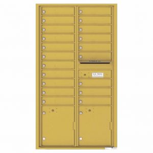 Florence Versatile Front Loading 4C Commercial Mailbox with 20 Tenant Compartments and 2 Parcel Lockers 4C16D-20 Gold Speck