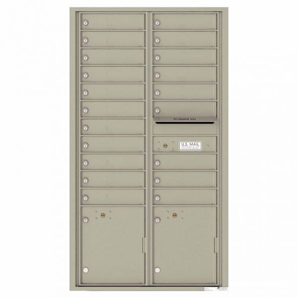 Florence Versatile Front Loading 4C Commercial Mailbox with 20 Tenant Compartments and 2 Parcel Lockers 4C16D-20 Postal Grey
