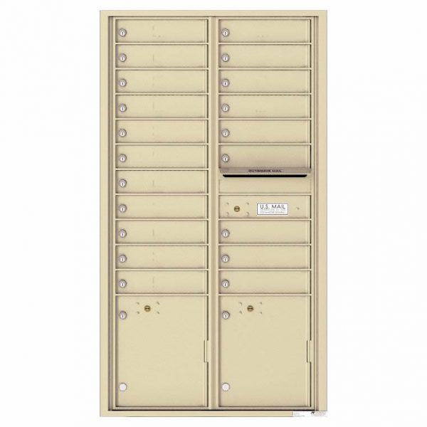Florence Versatile Front Loading 4C Commercial Mailbox with 20 Tenant Compartments and 2 Parcel Lockers 4C16D-20 Sandstone