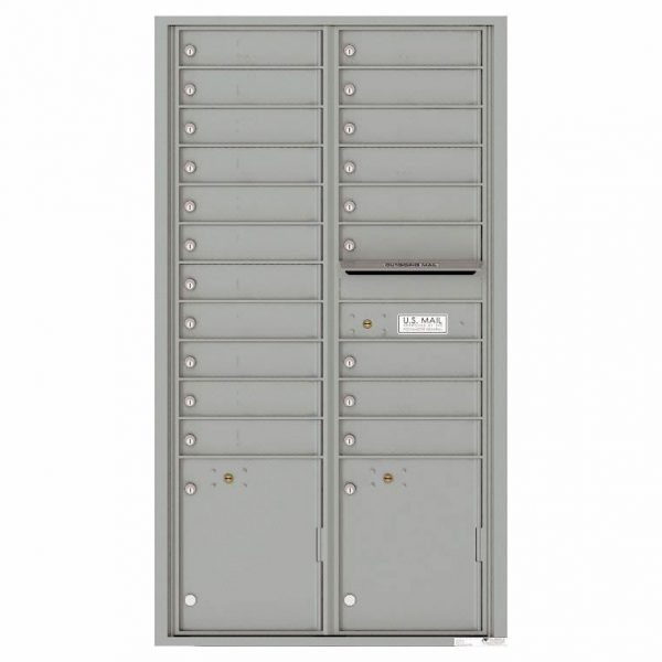 Florence Versatile Front Loading 4C Commercial Mailbox with 20 Tenant Compartments and 2 Parcel Lockers 4C16D-20 Silver Speck