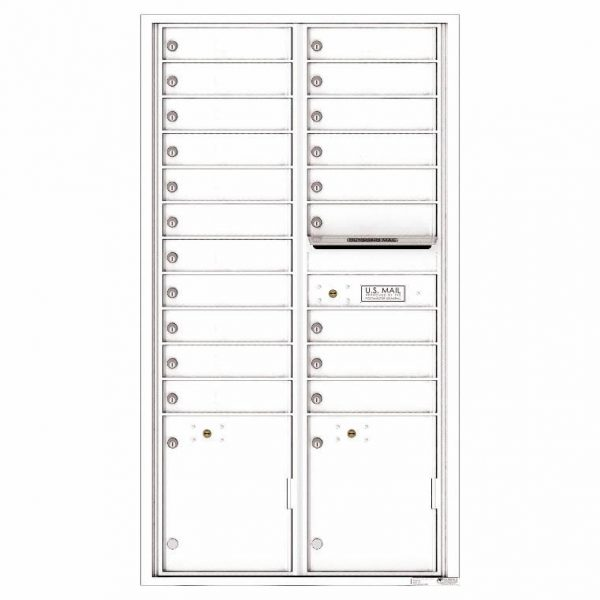 Florence Versatile Front Loading 4C Commercial Mailbox with 20 Tenant Compartments and 2 Parcel Lockers 4C16D-20 White
