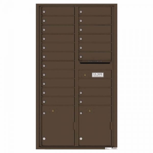 Front Loading Commercial Mailbox with 19 Tenant Compartments and 2 Parcel Lockers - Versatile Double Column Mailbox Antque Bronze