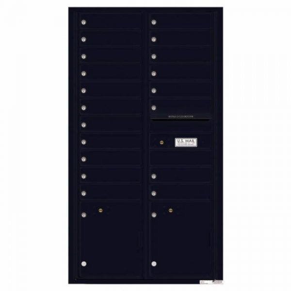 Front Loading Commercial Mailbox with 19 Tenant Compartments and 2 Parcel Lockers - Versatile Double Column Mailbox Black 4c16d-19bk