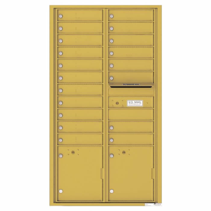 Front Loading Commercial Mailbox with 19 Tenant Compartments and 2 Parcel Lockers - Versatile Double Column Mailbox Gold Speck 4c16d-19gs