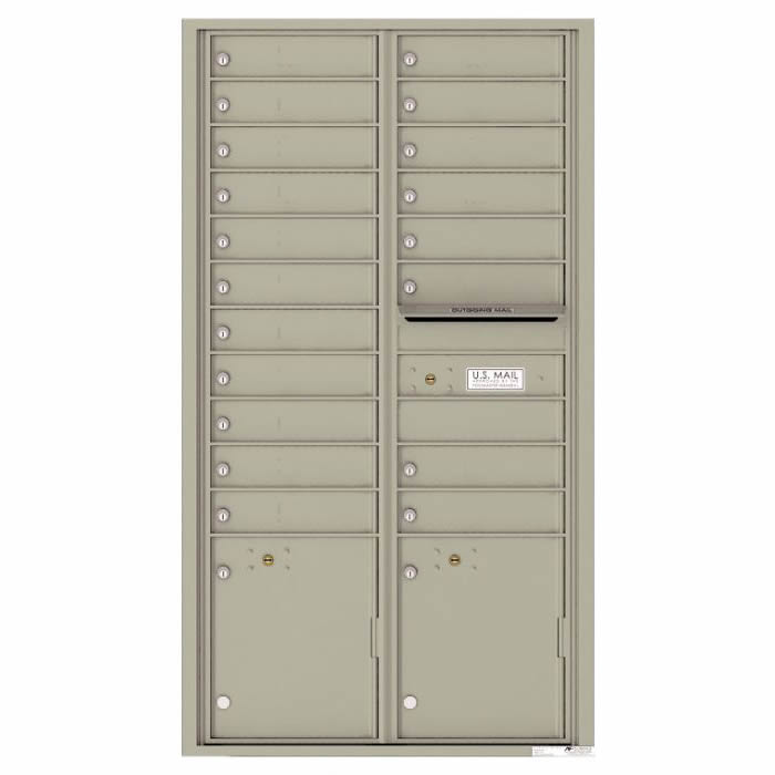 Front Loading Commercial Mailbox with 19 Tenant Compartments and 2 Parcel Lockers - Versatile Double Column Mailbox Postal Gray 4c16d-19pg