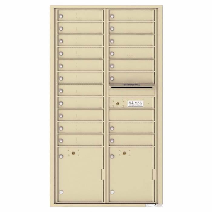 Front Loading Commercial Mailbox with 19 Tenant Compartments and 2 Parcel Lockers - Versatile Double Column Mailbox Sanstone 4c16d-19sd