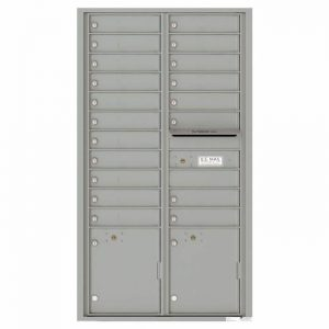 Front Loading Commercial Mailbox with 19 Tenant Compartments and 2 Parcel Lockers - Versatile Double Column Mailbox Silver Speck