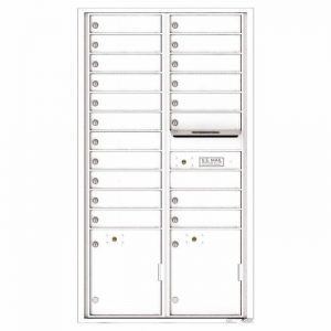 Front Loading Commercial Mailbox with 19 Tenant Compartments and 2 Parcel Lockers - Versatile Double Column Mailbox White 4c16d-19wh