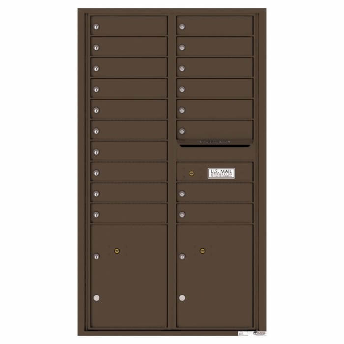 Versatile Front Loading 4C Commercial Mailbox with 18 Tenant Doors and 2 Parcel Lockers Antique Bronze