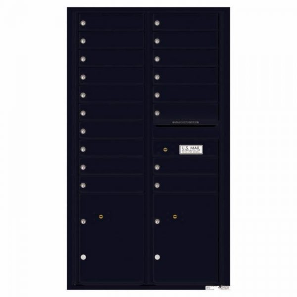 Versatile Front Loading 4C Commercial Mailbox with 18 Tenant Doors and 2 Parcel Lockers Black