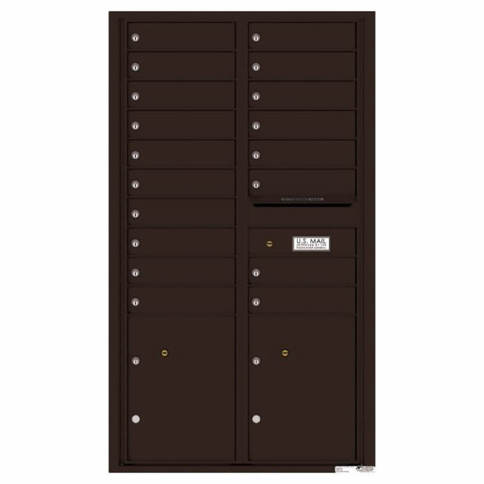 Versatile Front Loading 4C Commercial Mailbox with 18 Tenant Doors and 2 Parcel Lockers Dark Bronze