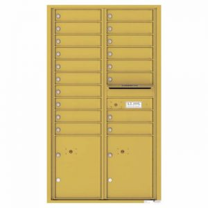 Versatile Front Loading 4C Commercial Mailbox with 18 Tenant Doors and 2 Parcel Lockers Gold Speck
