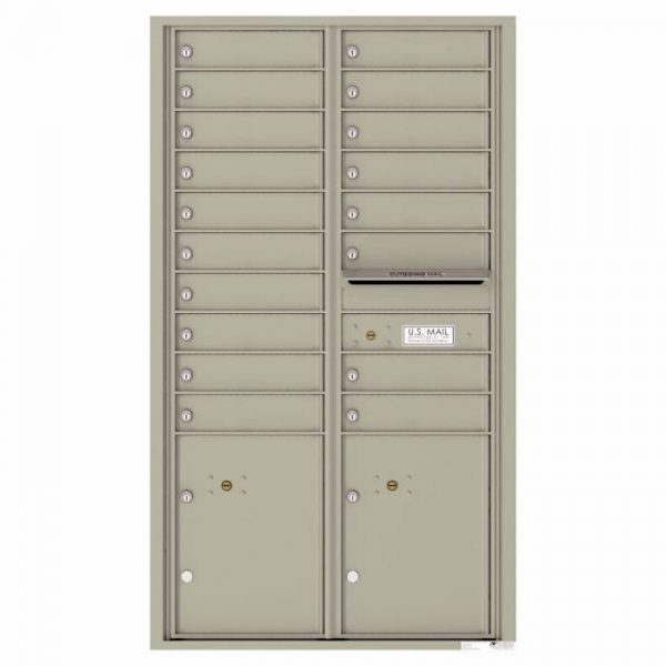 Versatile Front Loading 4C Commercial Mailbox with 18 Tenant Doors and 2 Parcel Lockers Postal Grey