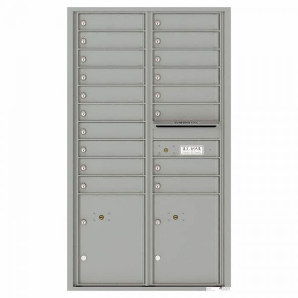 Versatile Front Loading 4C Commercial Mailbox with 18 Tenant Doors and 2 Parcel Lockers Silver Speck
