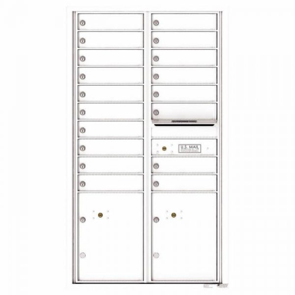 Versatile Front Loading 4C Commercial Mailbox with 18 Tenant Doors and 2 Parcel Lockers White