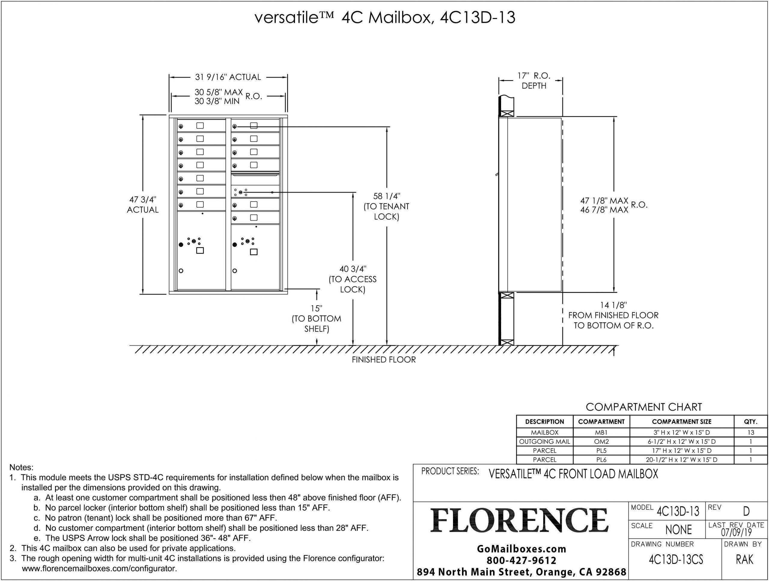 4C13D-13CS-Florence-Versatile-Front-Loading-4C-Commercial-Mailbox-Dimensions