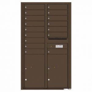 Florence Versatile Front Loading 4C Commercial Mailbox 16 Tenant Compartments with 2 Parcel Lockers Antque Bronze