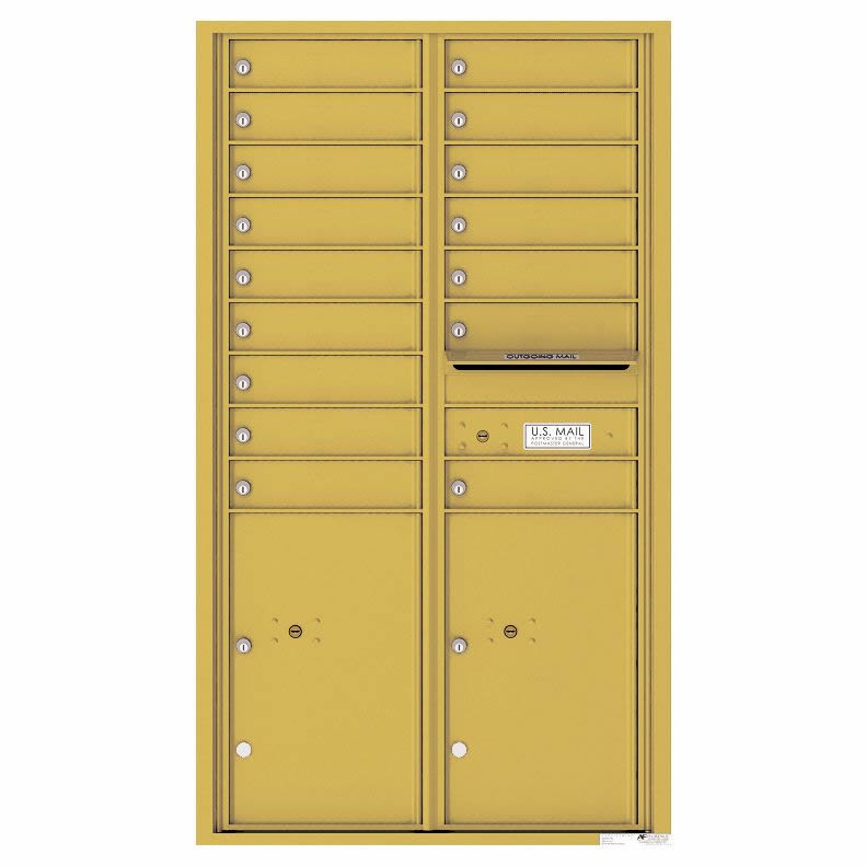 Florence Versatile Front Loading 4C Commercial Mailbox 16 Tenant Compartments with 2 Parcel Lockers Gold Speck