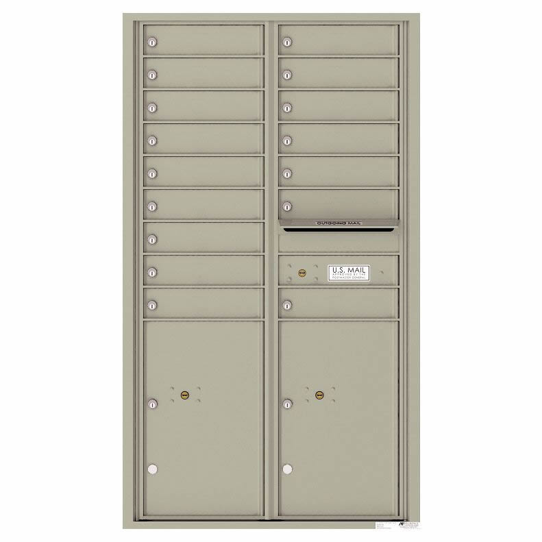 Florence Versatile Front Loading 4C Commercial Mailbox 16 Tenant Compartments with 2 Parcel Lockers Postal Grey